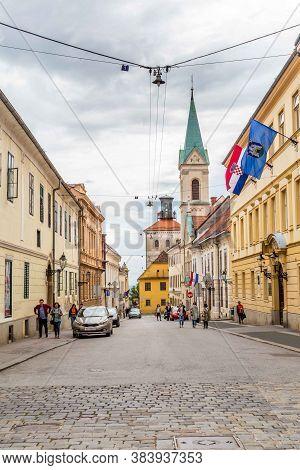 Zagreb, Croatia - May, 07, 2017: Street View With Saint Marks Church, Zagreb, Croatia