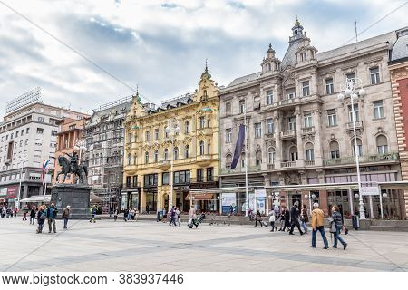 Zagreb, Croatia - May, 09, 2017: Ban Jelacic Square In The Historic Center Of Zagreb, Capital City O