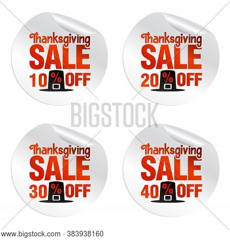 Thanksgiving Sale Stickers Set 10%, 20%, 30%, 40% Off With Pilgrim's Hat. Vector Illustration