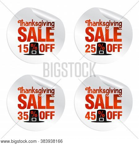 Thanksgiving Sale Stickers Set 15%, 25%, 35%, 45% Off With Pilgrim's Hat. Vector Illustration