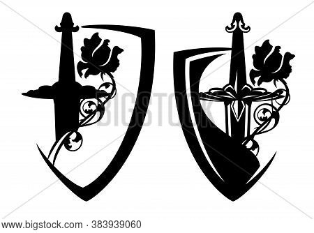 Medieval Knight Sword Hilt And Rose Flower Inside Heraldic Shield - Security And Bodyguard Concept B