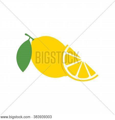 Lemon Sign Icon And Lemon Wedges. Vector Illustration Eps 10