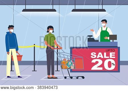 Supermarket Store Counter Cashier And Buyers In Medical Masks, With Cart And Basket. Quarantine Coro
