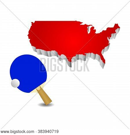 Ping Pong Ball And Racket Icon In The United States. Vector Illustration Eps 10