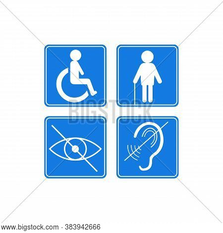 Disabled Signs Deaf Blind Wheelchair Icon. Vector Illustration Eps 10
