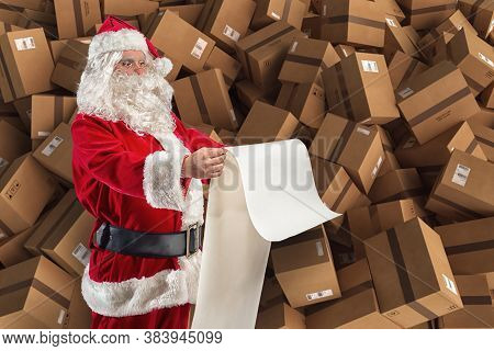 Santa Claus Is Full Of Presents Request And Boxes To Delivery