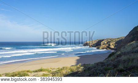 Epic Surf At Empty Beach. Perfect Wave In Beautiful Beach. Seascape, Seaside Landscape, Sea Atlantic