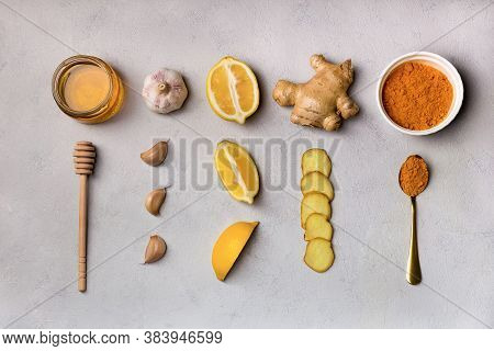 Folk Remedies Ginger, Garlic, Turmeric, Honey, Lemon. Ingridients For Making Drinks To Prevent And T