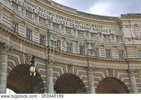 London, Great Britain -may 23, 2016: Admiralty Arch In Center Of The City Near Of Trafalgar Square,