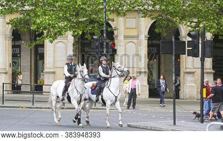 London, Great Britain -may 23, 2016: English Mounted Police In Center Of The City Near Of Trafalgar