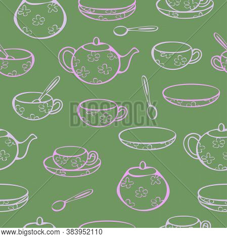 Vector Seamless Pattern Of Crockery For Tea-drinking - Cups, Mugs, Teapot, Sugar Bowl And Lump Sugar