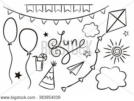 Set Of Hand Drawn June Elements Isolated On White Background. Summer Icons In Doodlo Style. Air Kite