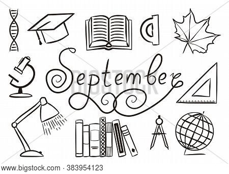 Set Of Hand Drawn September Elements Isolated On White Background. School Icons In Doodle Style. Boo