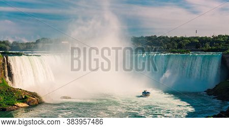 Niagara Falls, Ontario, Canada, Jul 31, 2019, Inviting Gorgeous View Of Niagara Falls With Passenger