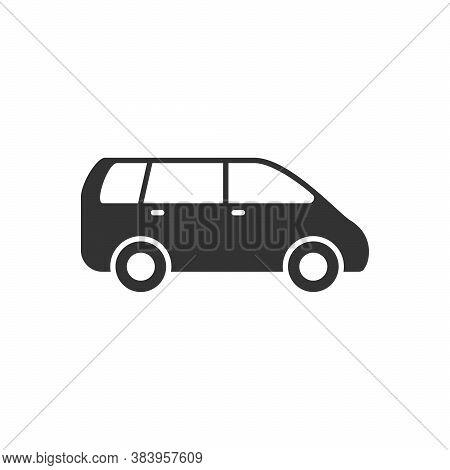 Minivan Or Passenger Van Glyph Icon Isolated On White. Vector Illustration