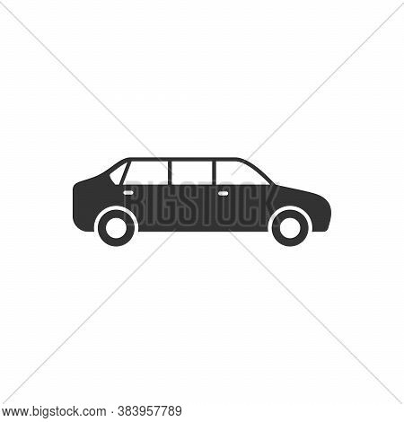 Limousine Car Glyph Or Vehicle Concept Isolated On White. Vector Illustration