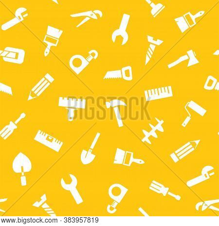 Hand Tools, Construction, Seamless Pattern, Yellow. White Icons On A Yellow Field. Single-color Flat