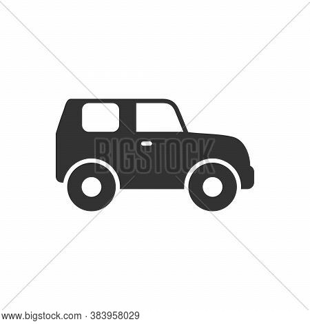 Suv Car Glyph Icon Or Vehicle Concept Isolated On White. Vector Illustration