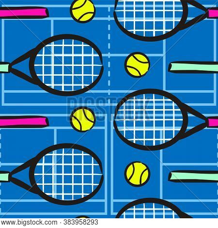 Seamless Hand Drawn Tennis Pattern. Hand Drawn Sport Background With Tennis Racket And Ball. Vector