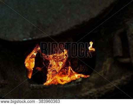 Red Hot Coal In A Blast Furnace For Metal Melting. Metal Mining And Processing Industry. Red Coal Fr
