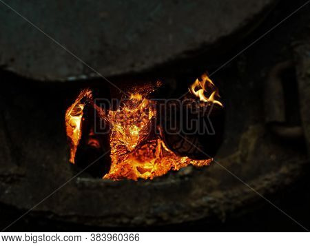 Red Hot Coals In A Blast Furnace For Metal Melting. Metal Mining And Processing Industry. Red Coal F