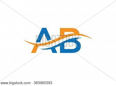 Minimal Ab Logo Design Swoosh. Ab Logo For Business And Company Identity