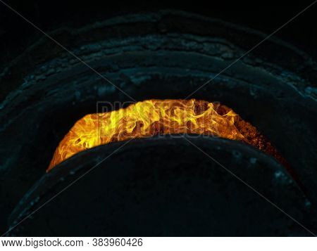Charcoal Production In Electric Furnaces. Burning Coals. Metallurgical Industry, Heavy Industry, Mec