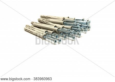 Stack Of Dowel Nails For Attaching To Dense Materials As Bricks, Stone, Concrete. Type Of Fixture In