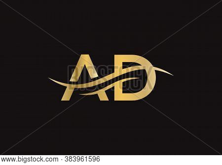 Letter Ad Logo Design With Modern Trendy. Initial Ad Logo.