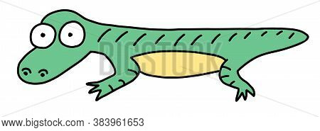 Cartoon Character Lizard. Cartoon Funny Doodle Reptile. Hand-drawn Vector Illustration Isolated On A
