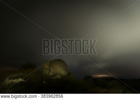 Night Landscape In The Barruecos Natural Area. Extremadura. Spain.