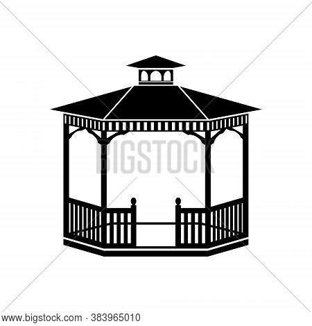 Gazebo Icon Isolated On White, Vector Illustration