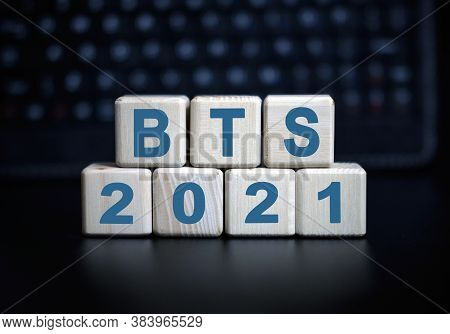 Bts- Text In 2021 Concept. Wooden Cubes On A Black Keyboard