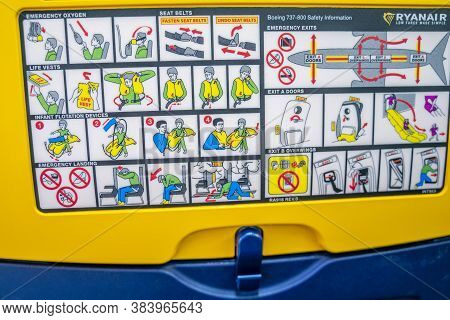 Malaga / Spain - August 15th, 2020 Safety Instructions Inside Plane, Back Of The Seat, Ryanair