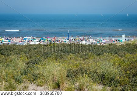 August 9, 2020, Scheveningen, The Hague, The Netherlands, People Like To Enjoy Outdoor Swimming And