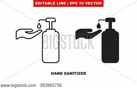 Bottle For Hand Sanitize With Antibacterial Gel Vector Icon. Alcohol Or Antiseptic Soap Cleanser Wit