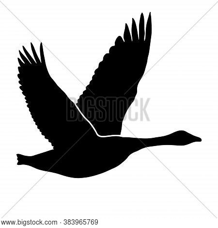 Goose In Flight Icon Isolated On White, Vector Illustration