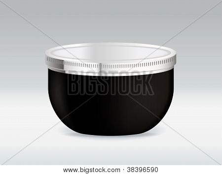 Black cosmetic container for body cream or hair gel