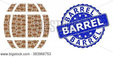 Barrel Rubber Round Stamp Seal And Vector Fractal Collage Barrel. Blue Stamp Contains Barrel Title I