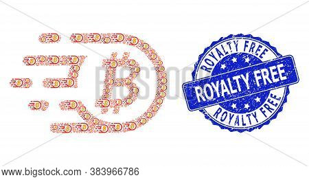 Royalty Free Scratched Round Seal And Vector Recursive Collage Bitcoin. Blue Seal Contains Royalty F
