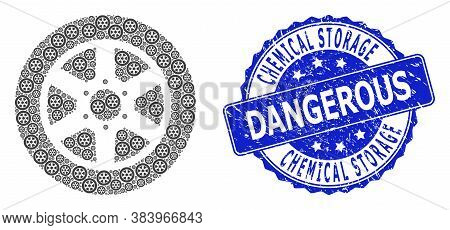 Chemical Storage Zone Dangerous Corroded Round Stamp Seal And Vector Fractal Collage Car Wheel. Blue