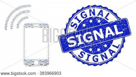 Signal Corroded Round Stamp Seal And Vector Recursive Mosaic Cellphone Signal. Blue Stamp Seal Inclu