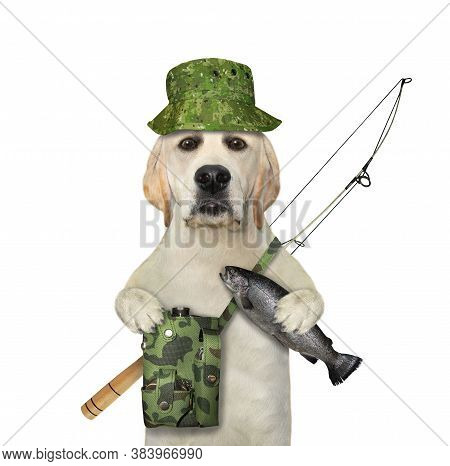 A Dog Fisher With A Fishing Rod Holds The Caught Fish.  White Background. Isolated.
