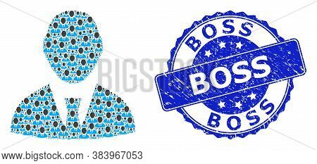 Boss Rubber Round Stamp Seal And Vector Recursive Collage Boss. Blue Stamp Seal Includes Boss Tag In