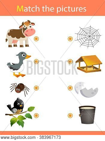 Matching Game, Education Game For Children. Puzzle For Kids. Animals. Cow, Goose, Spider, Bird.