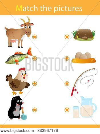 Matching Game, Education Game For Children. Puzzle For Kids. Animals. Goat, Fish, Chicken, Mole.