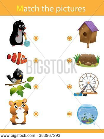 Matching Game, Education Game For Children. Puzzle For Kids. Animals With Their Homes. Mole, Fish, B