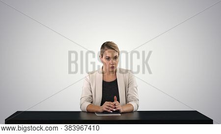 A Female Newsreader Presenting The News, Add Your Own Text Or Image Screen Behind Her On Gradient Ba