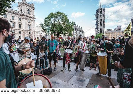 London / Uk - 2020.09.05: Drummers Playing Music At Extinction Rebellion Protest At Parliament Squar