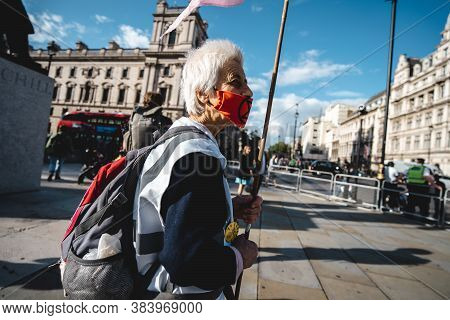 London / Uk - 2020.09.05: People With Flags And Banners At Extinction Rebellion Protest At Parliamen